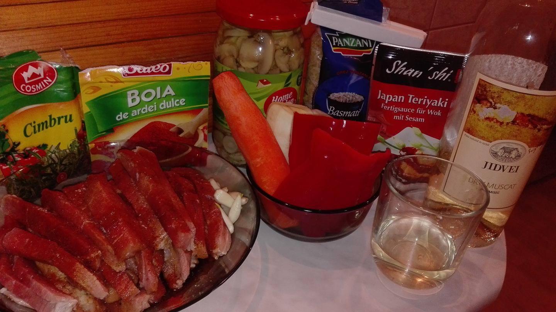 Carne de Porc cu Sos Teryaki si Garnitura de Orez Basmati cu Legume - ingrediente